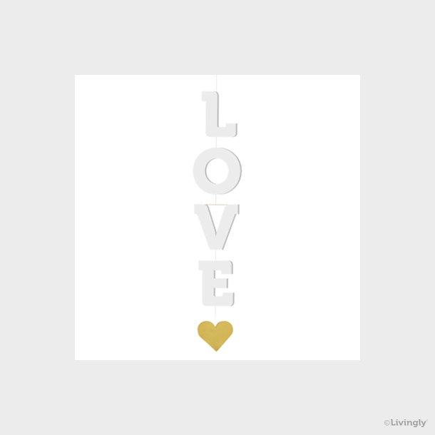 """""""LOVE"""" mobile spindel m. hjerte"""