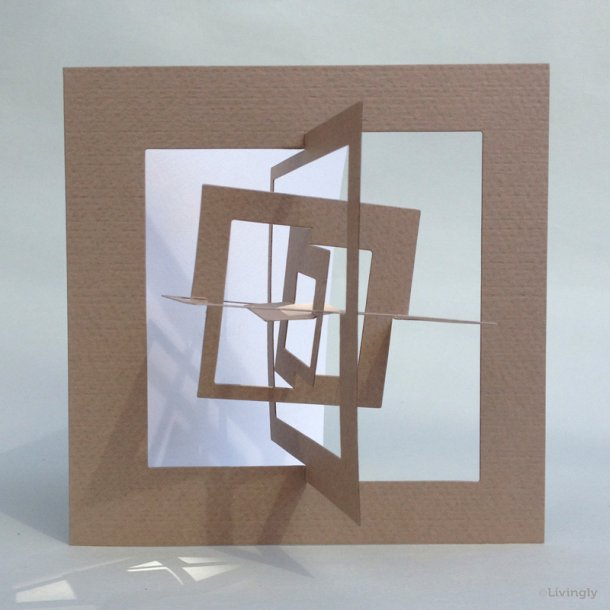 Kvadrat kort, Bauhaus stil - Lys brun