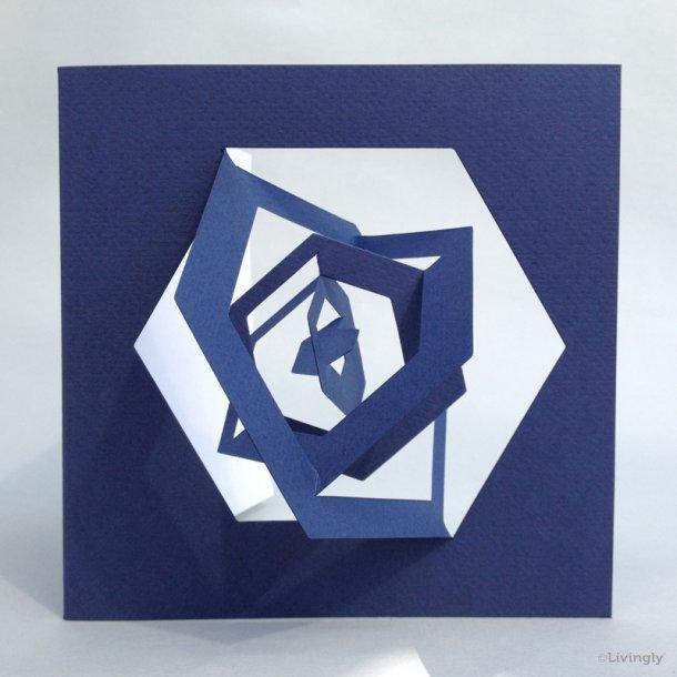 Sekskant kort, Bauhaus stil - Blå