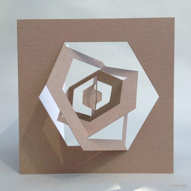 Sekskant kort, Bauhaus stil - Lys brun