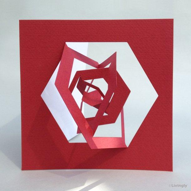 Sekskant kort, Bauhaus stil - Rød