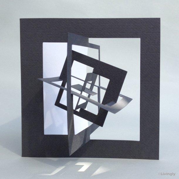Kvadrat kort, Bauhaus stil - Grå
