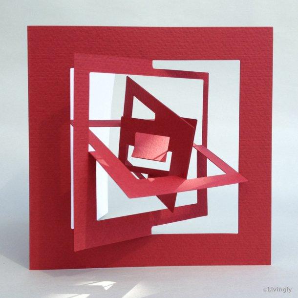 Kvadrat kort, Bauhaus stil - Rød