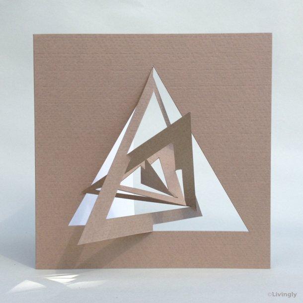 Trekant kort, Bauhaus stil - Lys brun