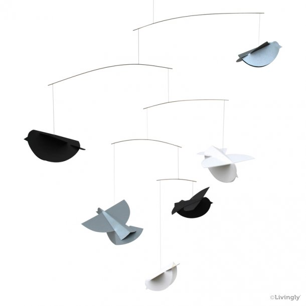 Fuglemobile, grå/sølv/hvid